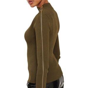 Topshop Gold Zip Long Sleeve Knit Top Sweater